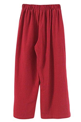 Palazzo Assez Rot Unicolor Été Taille Casual Femmes Pantalons Culotte Jeune Élasthanne Élégants Large ZqwHAa