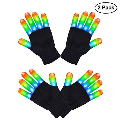 HITOP Halloween Led Party Gloves, Kids Finger Light Up Flashing Gloves Halloween Costume Glow Toys for Boys, Christmas Birthday Gift