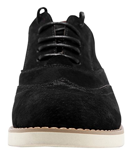 Black Oxfords Color Walking Womens Perforated Solid Shoes Leather Comfortable Simple Lace up Ulite Suede Casual q6CAq