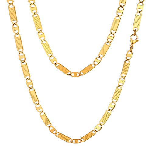 - FOCALOOK Mens Chain Necklace Solid 5mm Wide 18K Gold Plated Surgical Stainless Steel Unisex Women Men Fashion Jewelry Flat Thin Link Mariner Chain, 24 Inch