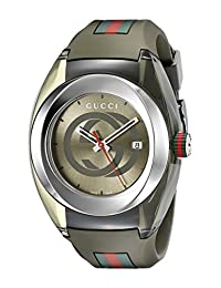 Gucci SYNC XXL YA137106 Men's Stainless Steel Watch with Khaki Rubber Strap