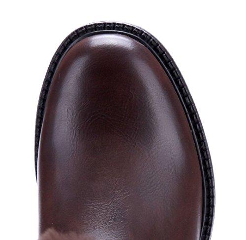 Schuhtempel24 Damen Schuhe Winterstiefeletten Stiefel Boots Blockabsatz Schnalle 4 cm Braun