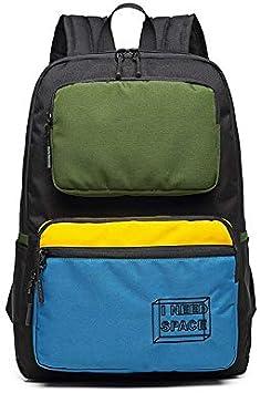 Casual Hombres Patchwork Travel Pack Sport Bag Pack de la Escuela de Moda Bolsa Mochila Mochila Mochila Bolsa de Estudiante para Hombre machacar Negro: Amazon.es: Equipaje
