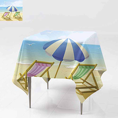Fbdace Spillproof Tablecloth,Beach with Sun Umbrella and Two Lounge Chairs for Events Party Restaurant Dining Table Cover 36x36 Inch