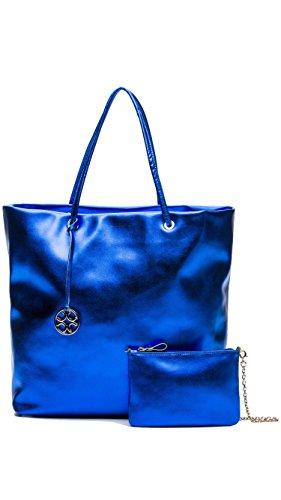 Coccinelle C1TR5110101358TU, Borsa tote donna Black/Camel Taglia unica Electric Blue