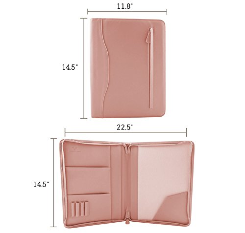 Professional PU Leather Padfolios Business Portfolio Document Organizer & Holder Padfolio Case for Notepads,Pens,Phone,Documents,Business Cards Blush Pink by Veracity & Verve (Image #3)