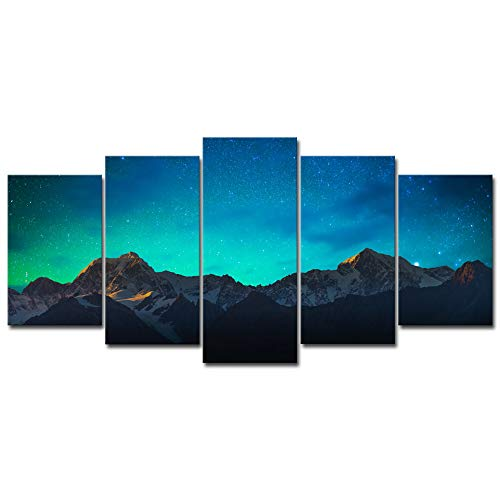 Wieco Art Canvas Prints Wall Art Mount Cook and Lake Matheson New Zealand with Milky Way Modern 5 Piece Giclee Artwork Starry Night Pictures Paintings for Bedroom Kitchen Living Room ()