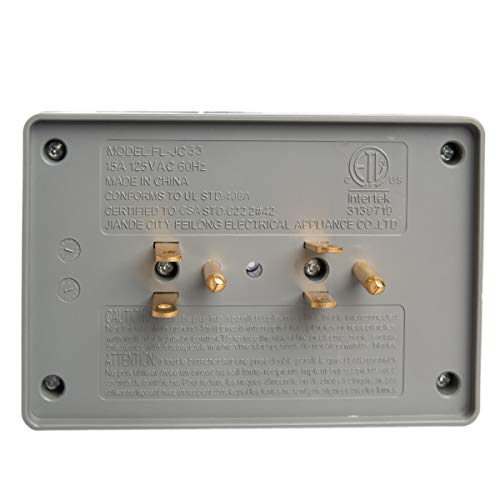 2 Side Entry 6-Way Electrical Socket Outlet Splitter In-Wall Tap Adapter In  Grey