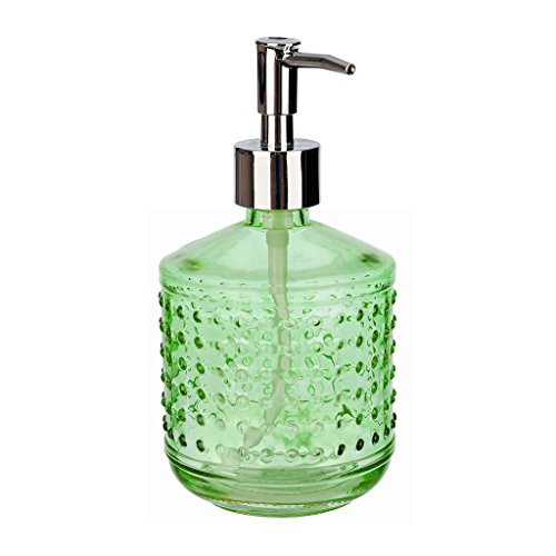 Green Glass Dish - Rail19 Hobnail Green Glass Liquid Hand Soap Dispenser Pump for The Kitchen and Bathroom Sink - Great for Dish Soap, Hand Soap and Hand Lotion + Essential Oils and Bath Products (Green)