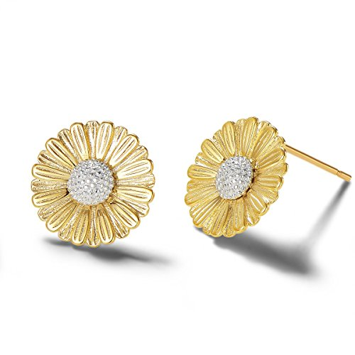 (Carleen 14k Yellow Gold Plated 925 Sterling Silver Dainty Statement Daisy Sun Flower Earrings Delicate Fine Jewelry Stud Earrings for Women)