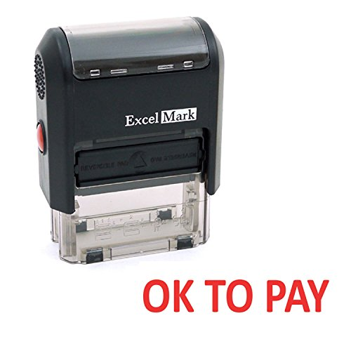Excelmark Ok To Pay Self Inking Rubber Stamp  A1539 Red Ink