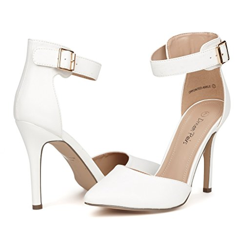 Pointed Toe High Heels Shoes (White) - 2