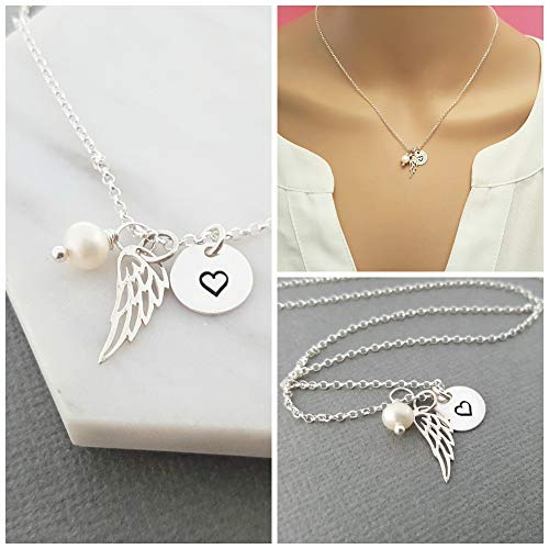 Angel Wing Necklace - Sterling Silver - Memorial Jewelry - Sympathy Gift ()