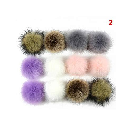 12Pcs/Lot 8cm Artificial Rabbit Fur Keychain Women Car Bag Key Ring Fluffy Faux Fox Fur Ball Key Chain Pompom,P2 from Meidly