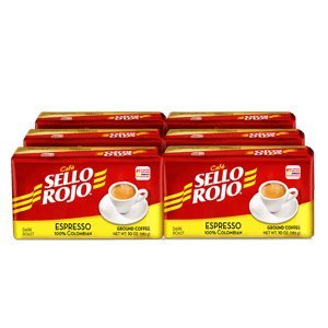 Cafe Sello Rojo Espresso | Best selling coffee brand in Colombia | 100% Colombian dark roast ground arabica coffee | Premium Cuban Expresso Coffee type | Freshly vacuum packed in bricks (Pack of 6)