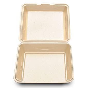 Enviroware GFHC9-200W 9-Inch Hinged Biodegradable Wheat Color 1 Compartment Container 100-Pack (Case of 2)