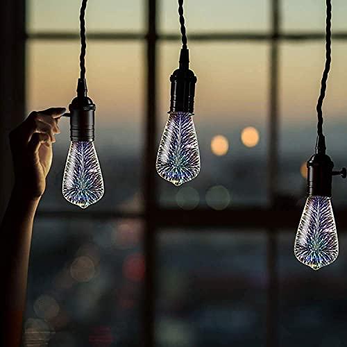 Firework Light Bulbs,Decorative 3D LED Bulb,4W, Stained Glass Light Bulb,Star Shine Decoration,Use for Holiday Christmas Decoration,Multicolor(Strip)