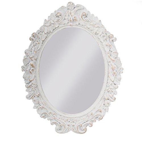 Espejo De Pared Plata Envejecida Ovalado 45 X 38cm Barroca Antiguo Reproducción Arte Y Antigüedades