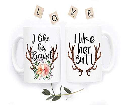I Like His Beard I Like Her Butt Mug - Newly Wed Gift - Beard Butt Cups - Wedding Gifts For Couple - Gifts For Him - Funny Coffee Mug Set - Unique - Custom Coffee Mug - 11oz (Chocolate Custom Wrapped)