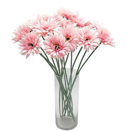 cn-Knight Artificial Flower 12pcs 22'' Long Stem Silk Daisy Faux Mums Flower Chrysanth Gerbera for Wedding Bridal Bouquet Bridesmaid Home Decor Office Baby Shower Prom Centerpiece(Light Pink)