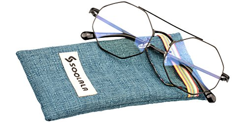 SOOLALA Retro Arts Unique Octagonal Irregularity Alloy Eyeglass Reading Glasses, Black, - Presription Sunglasses