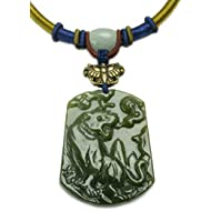 Auspicious Crouching Tiger Carved Green Jade Amulet Necklace -Fortune Jade Jewelry