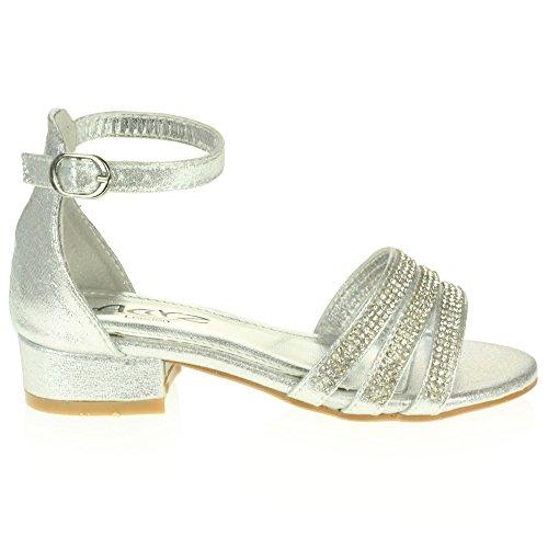 AARZ LONDON Mädchen Kinder Sparkly Diamant Abend Party Komfort Blockabsatz Sandalen Schuhe Größe Silber