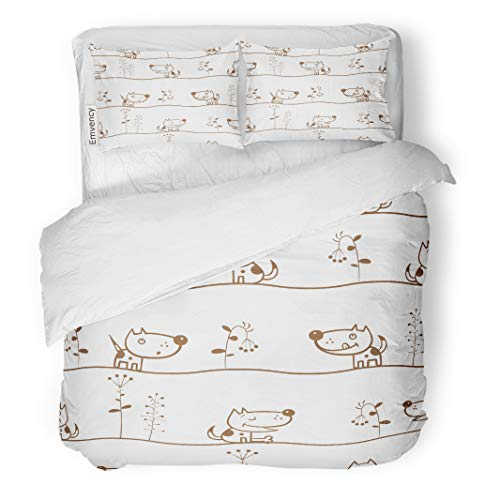 Semtomn Decor Duvet Cover Set King Size Brown Abstract Spring Cartoon Dogs and Plants on Animals 3 Piece Brushed Microfiber Fabric Print Bedding Set Cover -