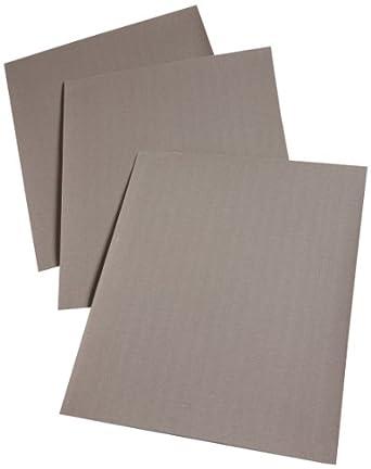 "3M Cloth Sheet 211K, Cloth Backing, Aluminum Oxide, 11"" Length x 9"" Width, 400 Grit, Black (Pack of 50)"