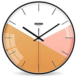 EMIROOM Modern Colorful Wall Clock, 12 inch Silent Non-Ticking Quartz Metal Wall Clock, Battery Operated, Simple Style Decorative for Bedroom, Living Room, Kitchen, School and Office (Orange)