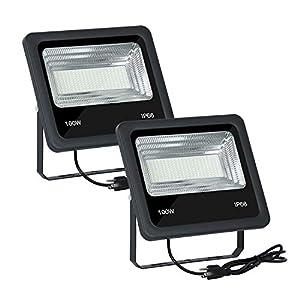 2 PCS 3000K Warm White 100W LED Flood Light Outdoor with US Plug 100 Watt Floodlight Lamp IP65 Waterproof Outside