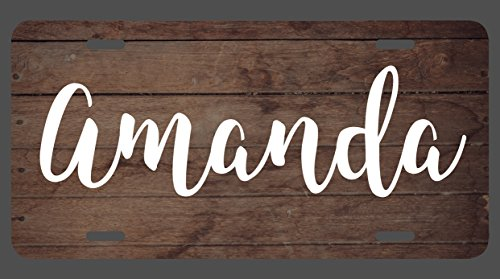 Amanda Vanity - DHDM Amanda Name Wood Style License Plate Tag Vanity Novelty Metal | UV Printed Metal | 6-Inches By 12-Inches | Car Truck RV Trailer Wall Shop Man Cave | NP005