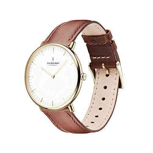 Nordgreen Native Scandinavian Gold Unisex Analog 36mm Watch with Dark Brown Leather...