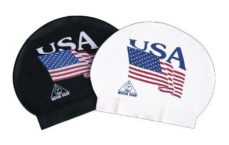 Water Gear Latex Swim Cap USA Flag - - Cap Swimming Usa