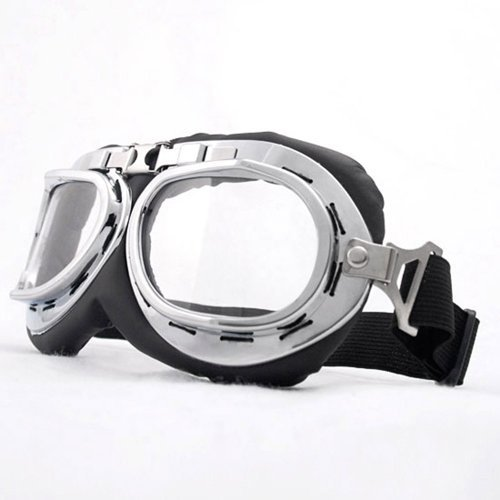 Vintage Style Military WWII RAF Pilot Chrome Plated Frame Clear Lens Elastic Strap Padded Frost Free Unisex Men Women UV Goggles For Motorcycle BMX ATV Dirt Bike Biker Helmet Decoration (Wwii Raf Pilot Costume)