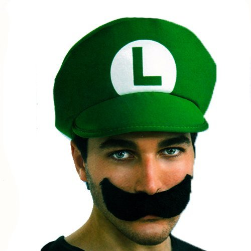 [Super Mario Brothers Luigi Hat And Mustache Kit, Standard Color, One Size] (1980s Movie Character Costumes)
