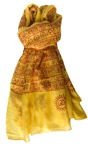 Indian Om Mantra Scarf Block Print (saffron) (Scarf In India Made)