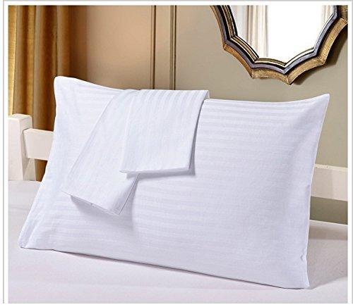 Set of 2 - Toddler Travel Pillowcase 700 Thread Count 12x16 Size, White Striped, with 100% Egyptian Cotton