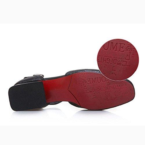 L@YC Mujeres Con Sandalias Gruesas De Verano De Cuero Baotou Palabra Palabra De Gran Hebilla Cuadrado De Cabeza Zapatos CóModos Red