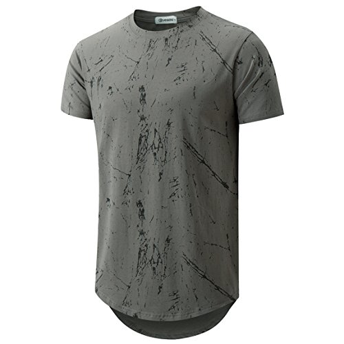 KLIEGOU Mens Hipster Hip Hop Ripped Round Hemline Pattern Print T Shirt 86 Gray2 L by KLIEGOU
