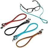 Ftojos 4 PCS Premium Eyeglass Straps - Sunglasses String Holder Strap - Leather Glasses Lanyard Chain for Men Women Kids - Adjustable Eyewear Retainer Cord