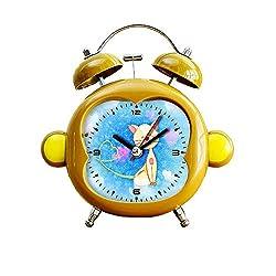 GIRLSIGHT1 Children's Room Monkey Style Silent Alarm Clock Twin Bell Mute Alarm Clock Quartz Analog Bedside and Desk Clock with Nightlight- 224.Heart Smooch Cute Cat Love