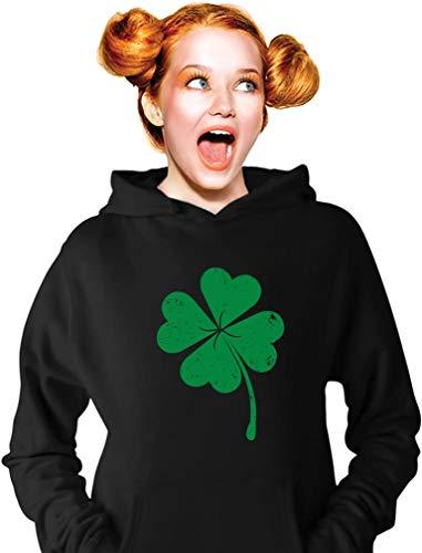 Shamrock Sweatshirt - TeeStars - Four-Leaf Clover - Saint Patrick's Day Irish Shamrock Women Hoodie Medium Black