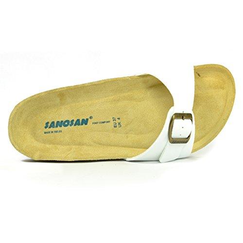 Damen Sanosan Designer Malaga Zehenöffnung Flip Flops New Verstellbarer Riemen Sandalen Weiß