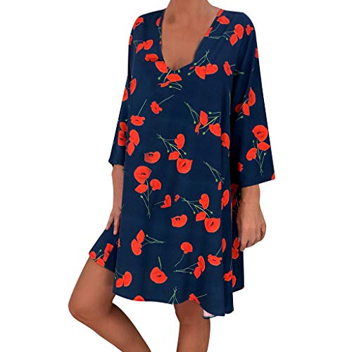 - Women's Printed Three Quarter Sleeve Mini Dresses AmyDong Ladies Plus Size Casual Loose Summer Dress Blue
