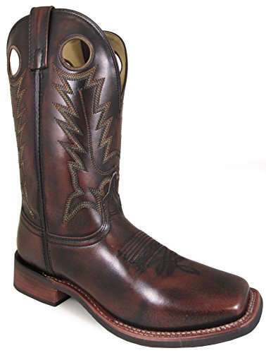 Smoky Mountain Men's Landry Pull On Stitched Design Square Toe Chocolate Brush Off Boots 8D ()