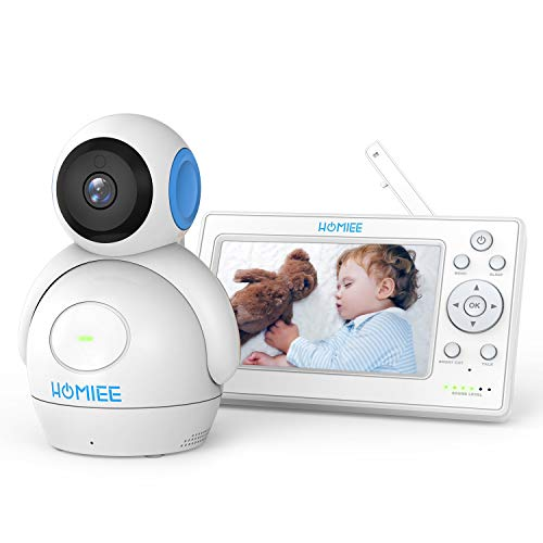 HOMIEE Video Baby Monitor with 720P Digital Camera, 5 Color LCD Display and 1000 Ft Long Range, Infrared Night Vision, 5 Lullabies, Two-Way Audio Talk, Sound/Temperature Alarm, Wall Mounting Capable