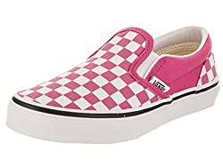 Vans Kids K Clasic Slip On Checkerboard Rasberry Rose Wht Size 3.5