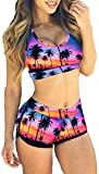 TOP HERE Women's Bandage Sporty Bathing Suit Boyleg Short Bikini Swimsuit