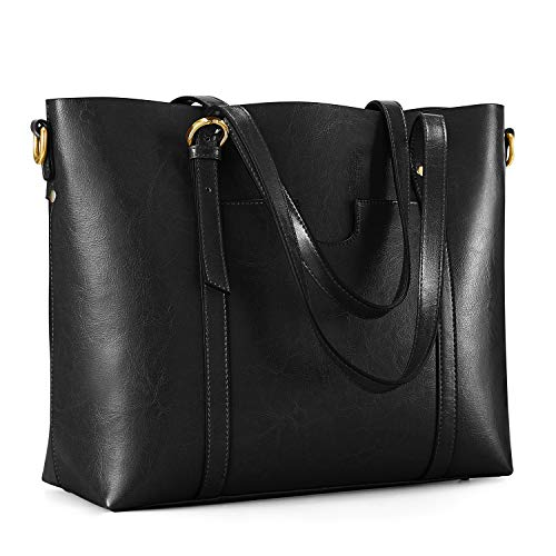 Kattee Vintage Cowhide Leather Tote Crossbody Shoulder Bag for Women (Black)